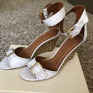Zara Leather White Wedge Sandals